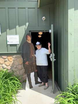 Nan Fromm (Library Member) and Friend welcome visitors to the Library.
