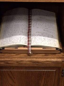 A cherished item in the Library is the 1st membership meetings book from 1849.