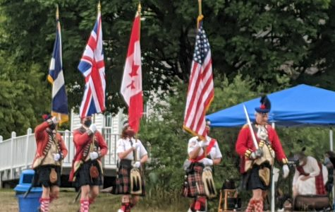 Beginning of the 171st Highland Games Picnic by the St. Andrew's Colour Guard & Grant's Company 42nd Highlanders.