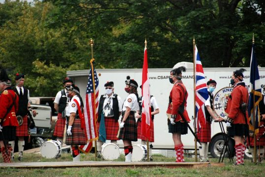 Posting of the Colours by St. Andrew's Colour Guard & Grant's Company 42nd Highlanders, (Lt. Col. Jim Puzar & Sgt. Maj. David Keely, from Beaverton, MI)