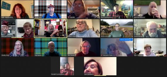 Screen Shot of Participants at the March 2021 Games and Trivia Night, March 25, 2021.